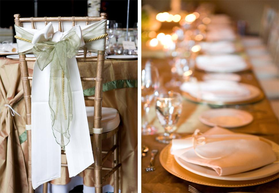 chaises et vaisselle de mariage