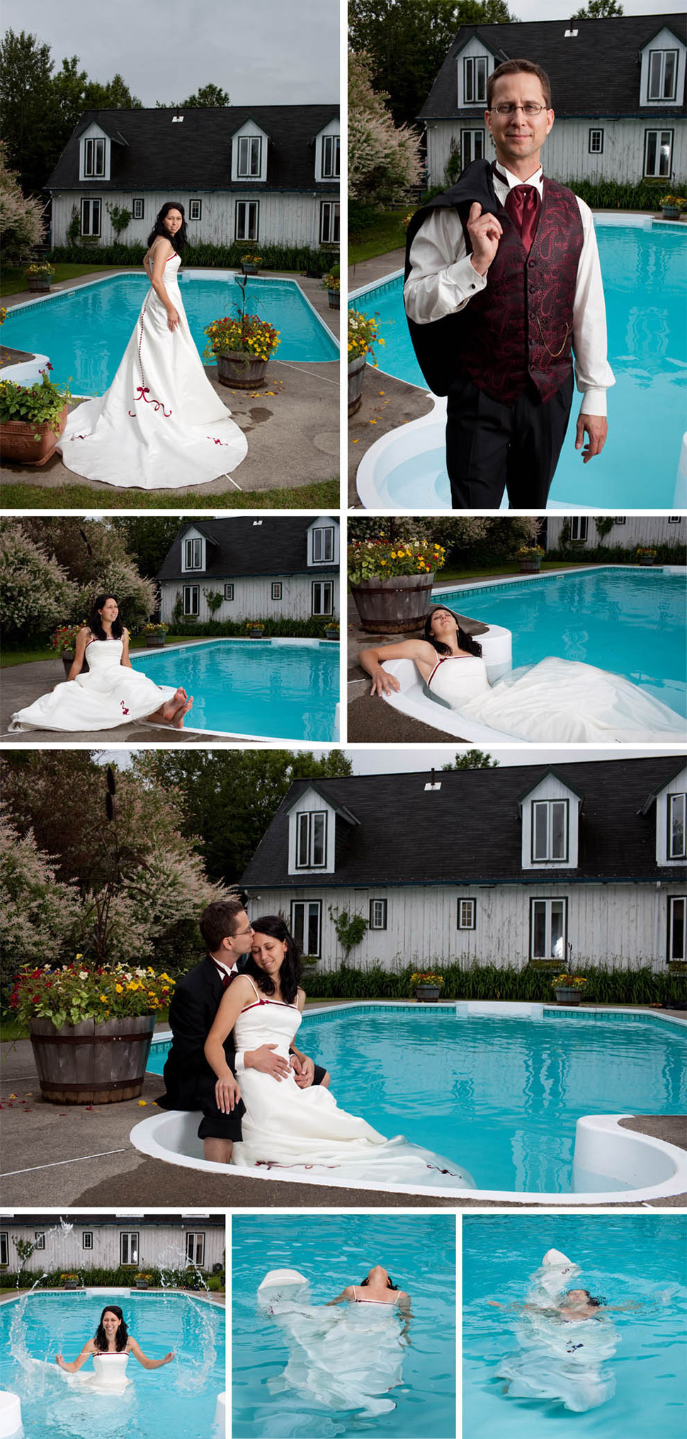 Bride in a swimming pool.