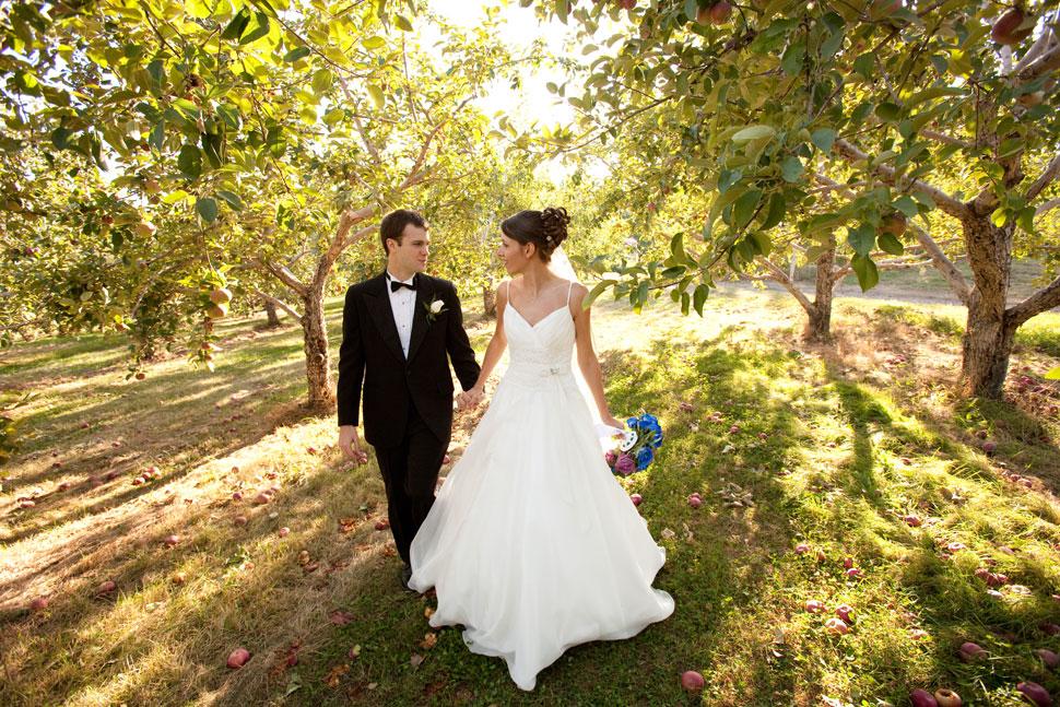 Mariés se promenant à travers des pommiers