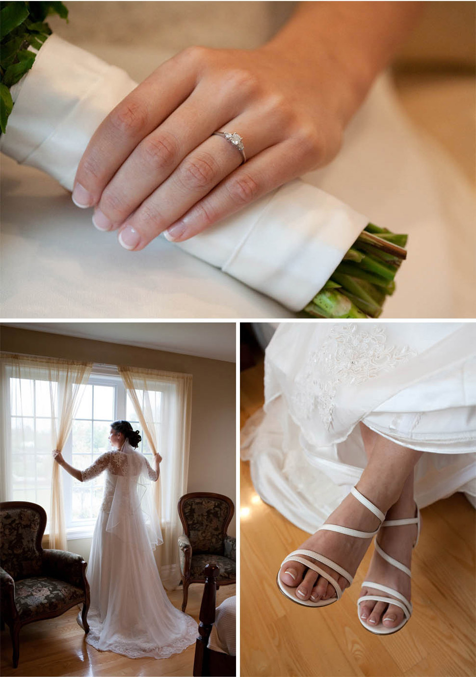 Wedding shoes, dress and ring.