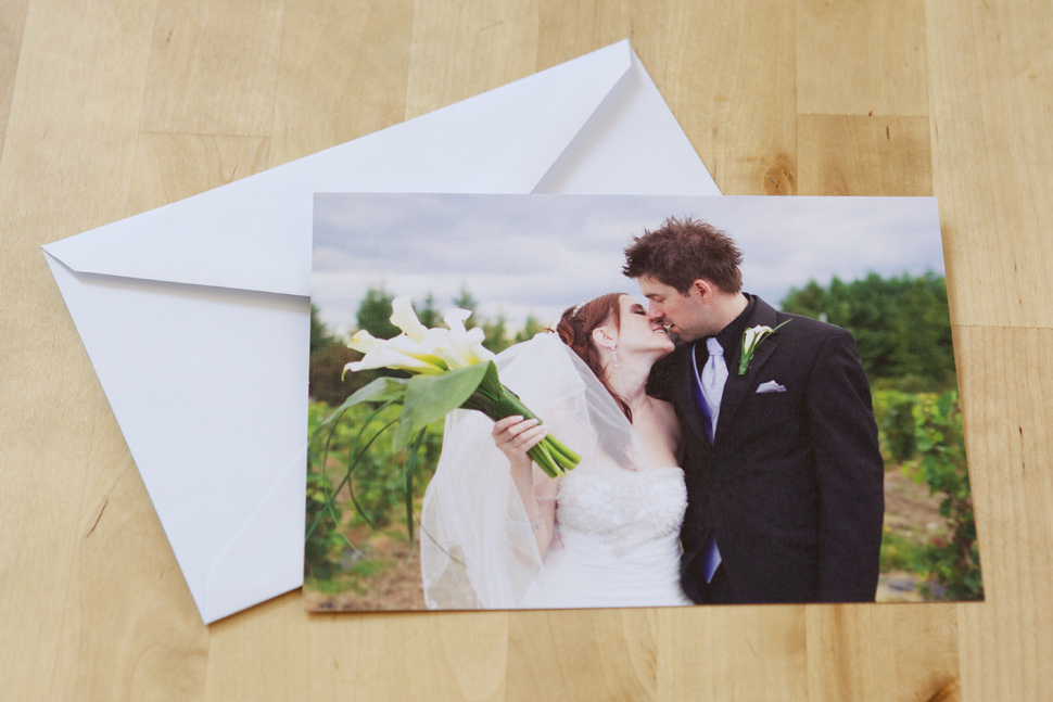 Wedding thank you card with white envelope