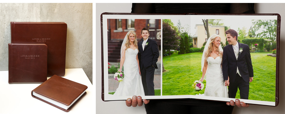 Wedding album with magazine style layout.