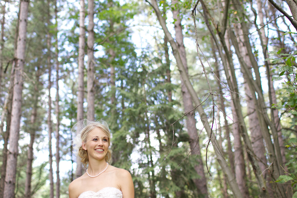 Beautiful bride in the forest.