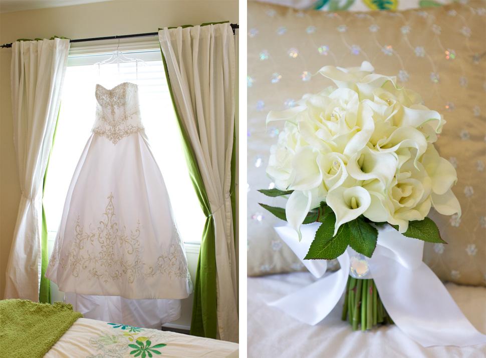 robe et bouquet de mariée
