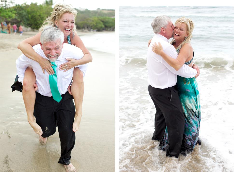 Couple courant sur la plage dans les caraïbes