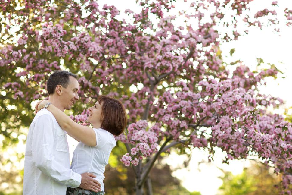 Couple devant un pommetier en fleurs