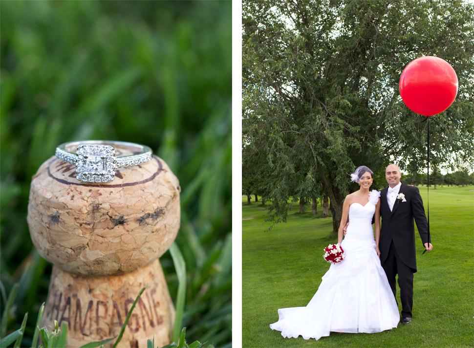 Bague de mariage sur un bouchon de bouteille de Champagne.