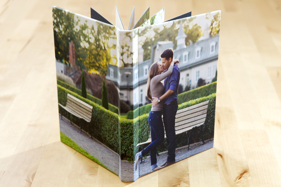 Beautiful press printed book featuring an engagement session.