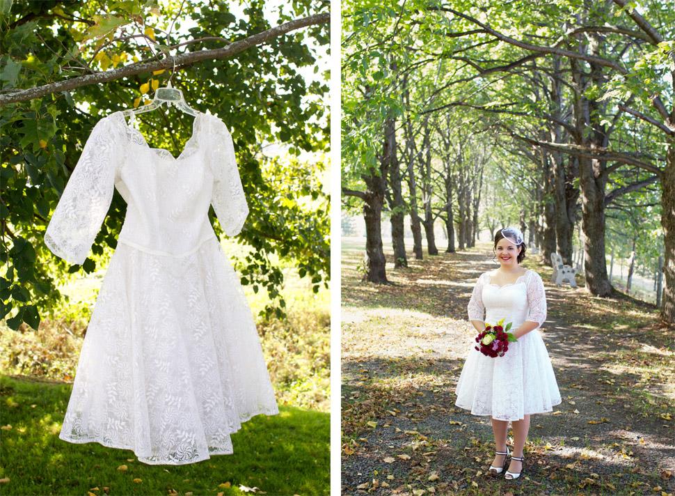 Robe de mariage courte.