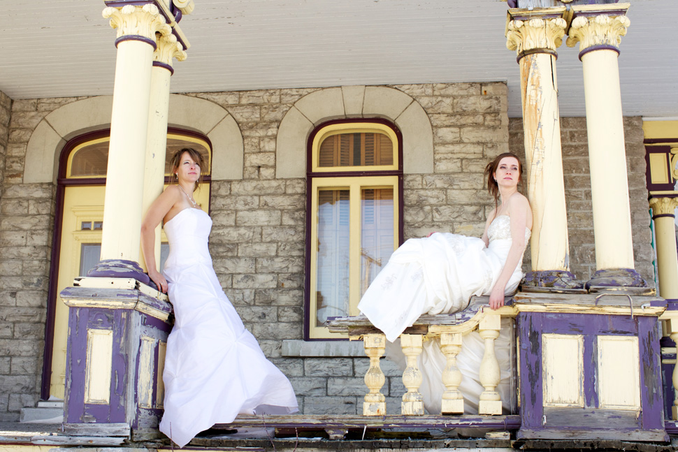 Photo session with two brides.