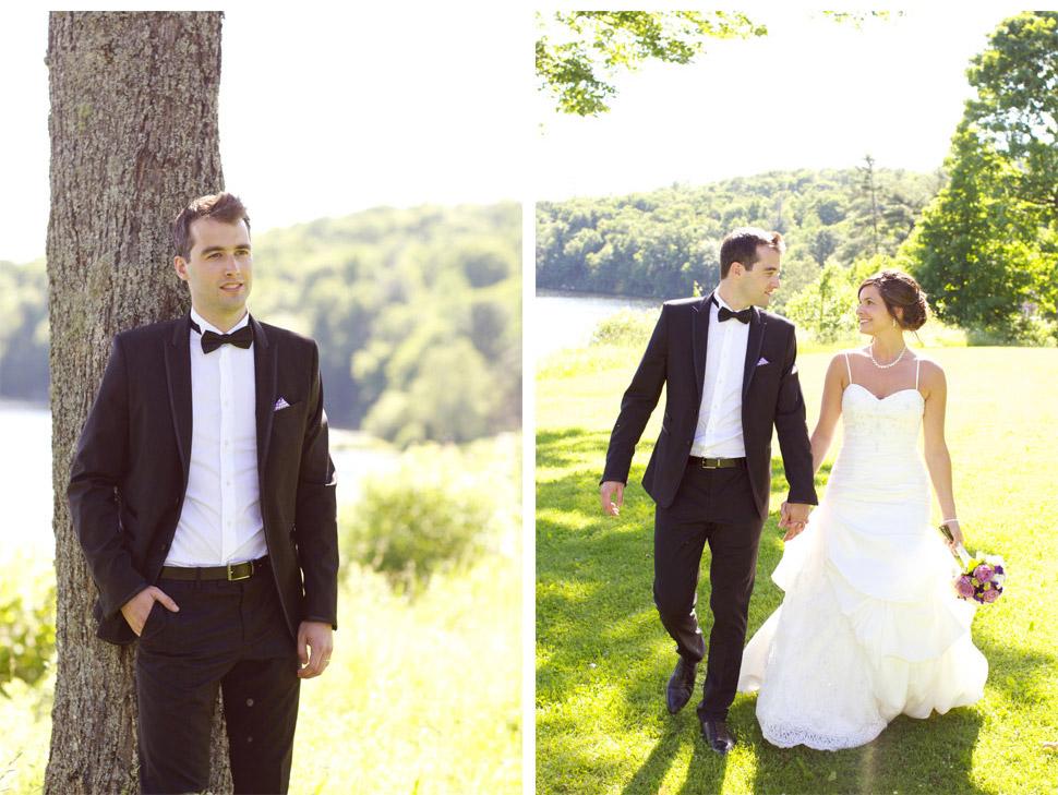 Couple marchant près d'un lac.