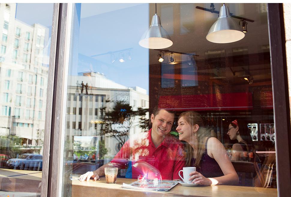 Café sur la rue St-Jean à Québec.