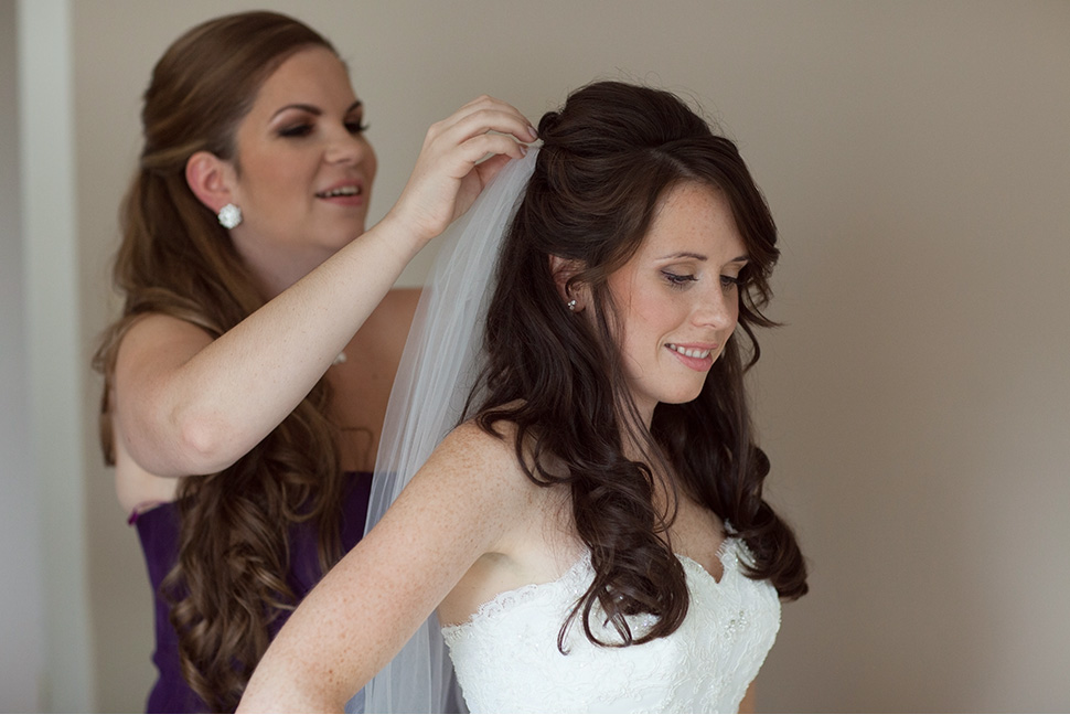 Bride getting ready for her wedding.