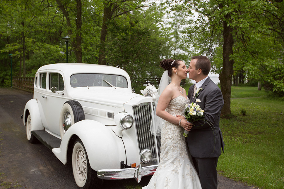 Antique wedding limo.