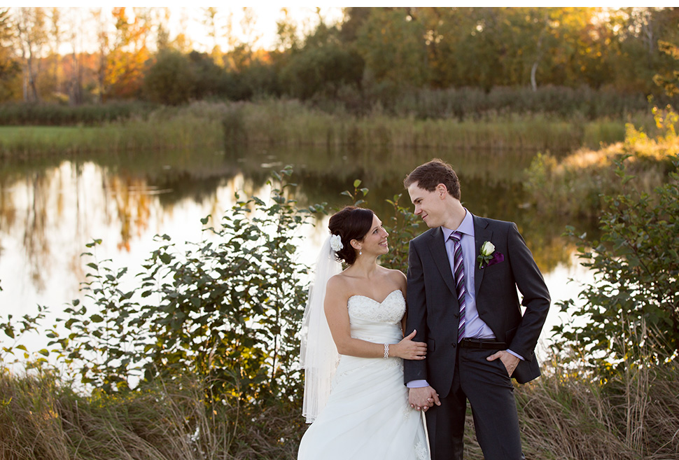Sunset lake wedding.
