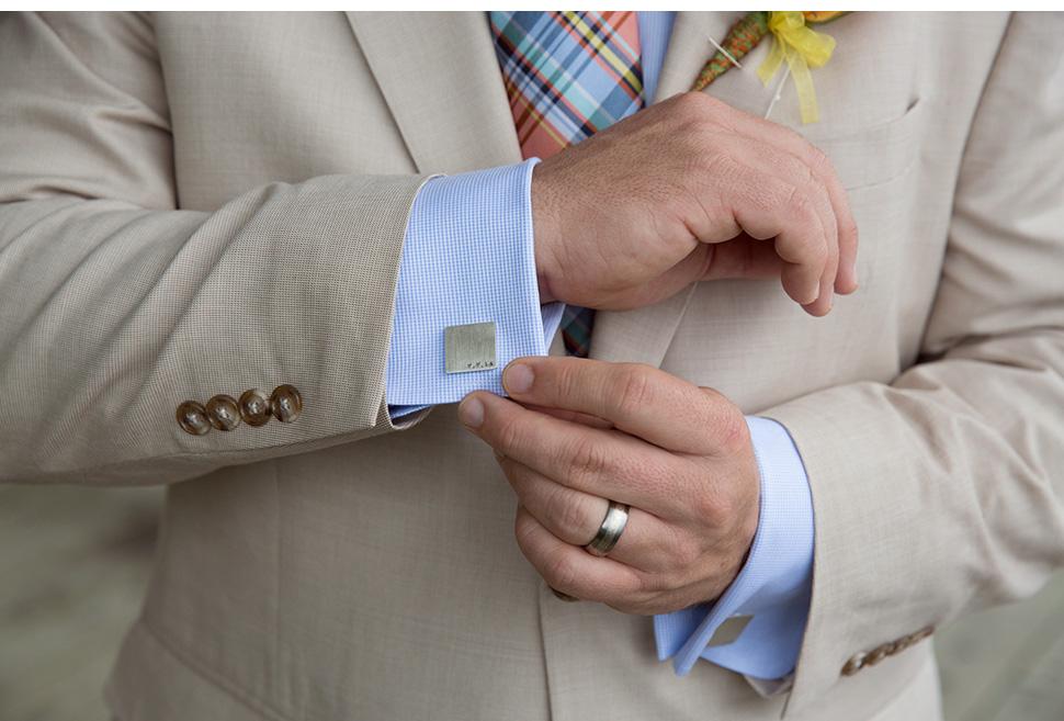 Custom wedding cufflinks.