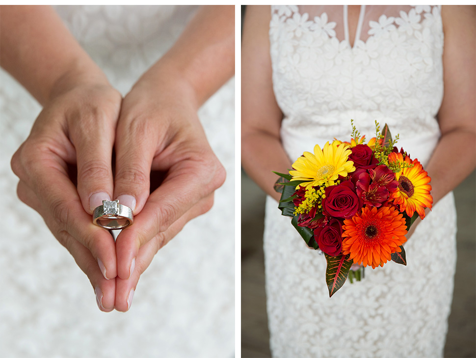Wedding bouquet and ring.