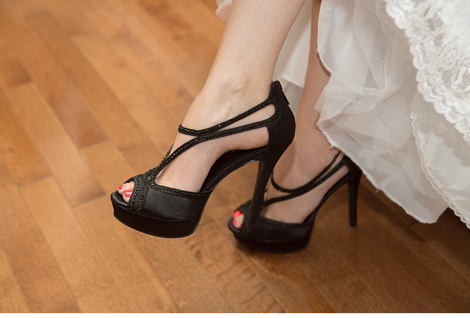 Black wedding shoes for bride.