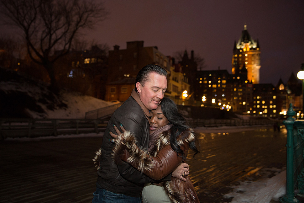 Romantic marriage proposal in Quebec City.