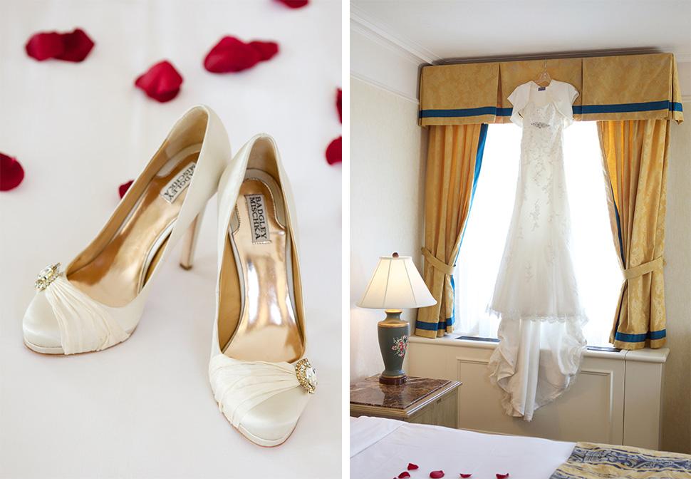 Soulier et robe de mariée.