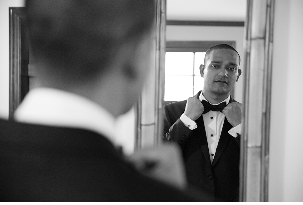 Groom getting ready.