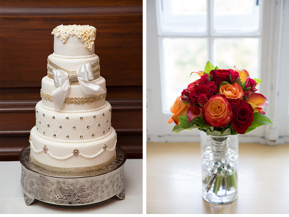 Wedding cake and flowers.