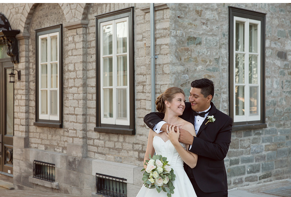 Bride and groom in Old Quebec.