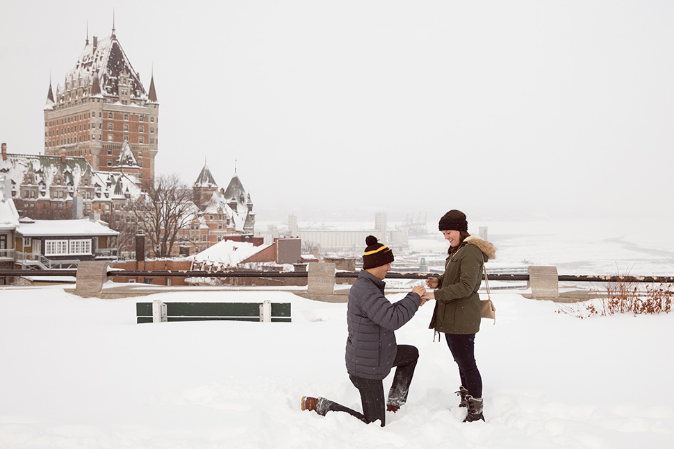 Romantic wedding proposal in Old Quebec.
