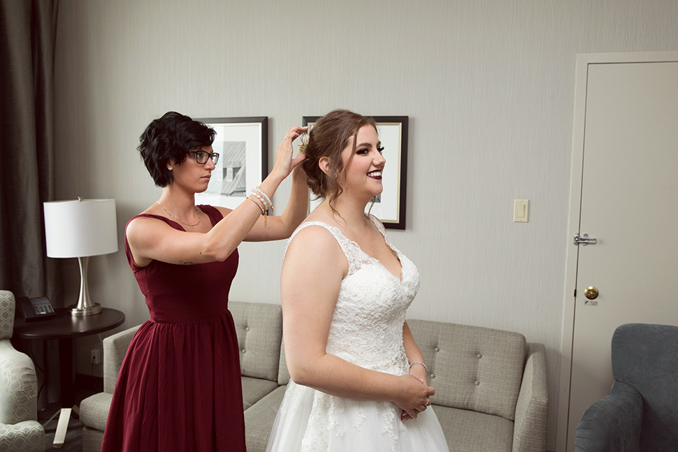 Maid of honor with bride.