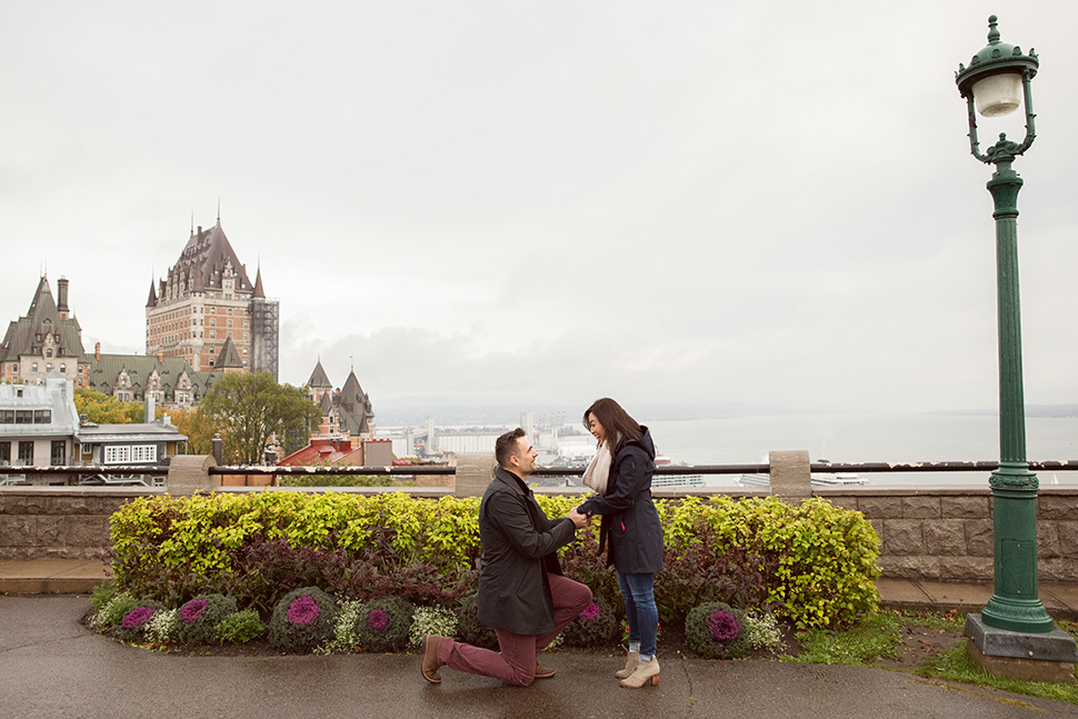 Romantic proposal during fall season.